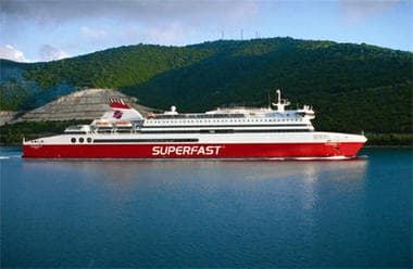 Ferry of Superfast Ferries at sea