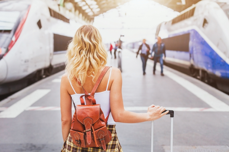 girl at train station