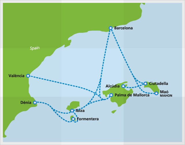 Map with Balearia ferry routes