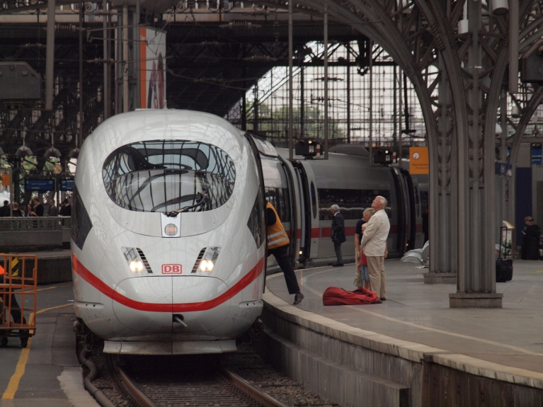 ICE high-speed train at platform in Cologne, Germany