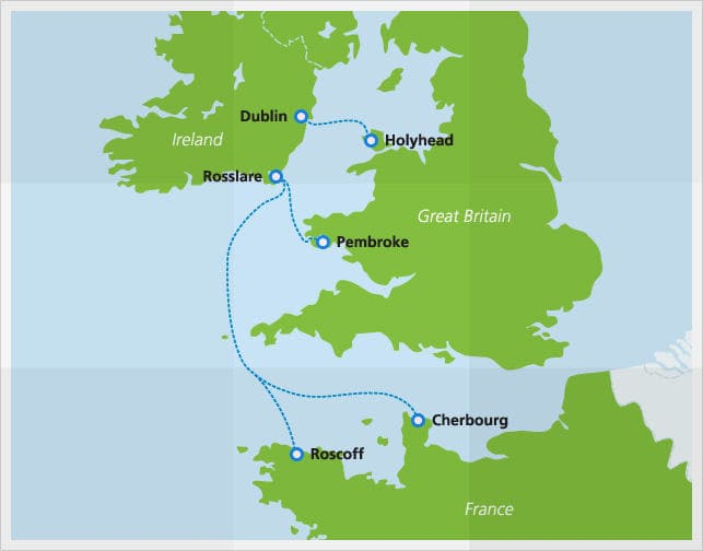 Map with Irish Ferries routes