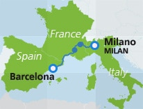 Milan, Italy to Barcelona, Spain train map