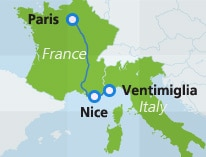 Map with route between Paris and Ventimiglia
