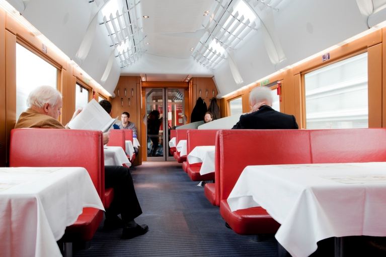 Restaurant car ICE train, Germany