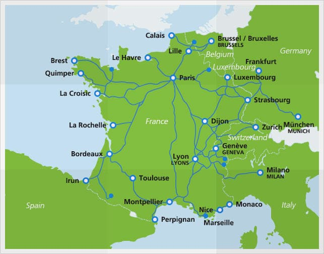 TGV map with routes 2016