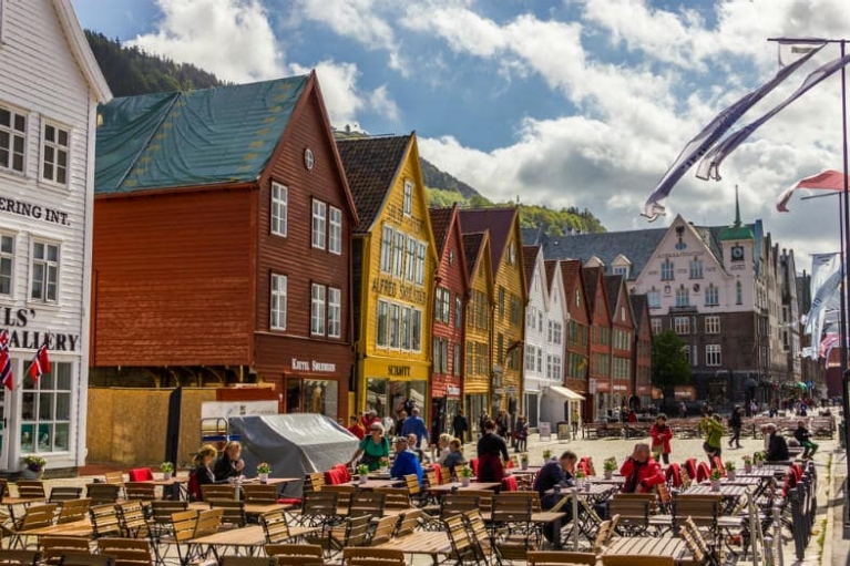 View of Bryggen, the old wharf of Bergen