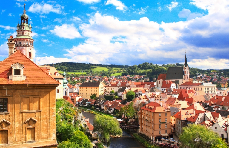 View of old city of Cesky Krumlov