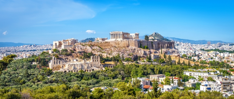 View on the Acropolis in the heart of Athens